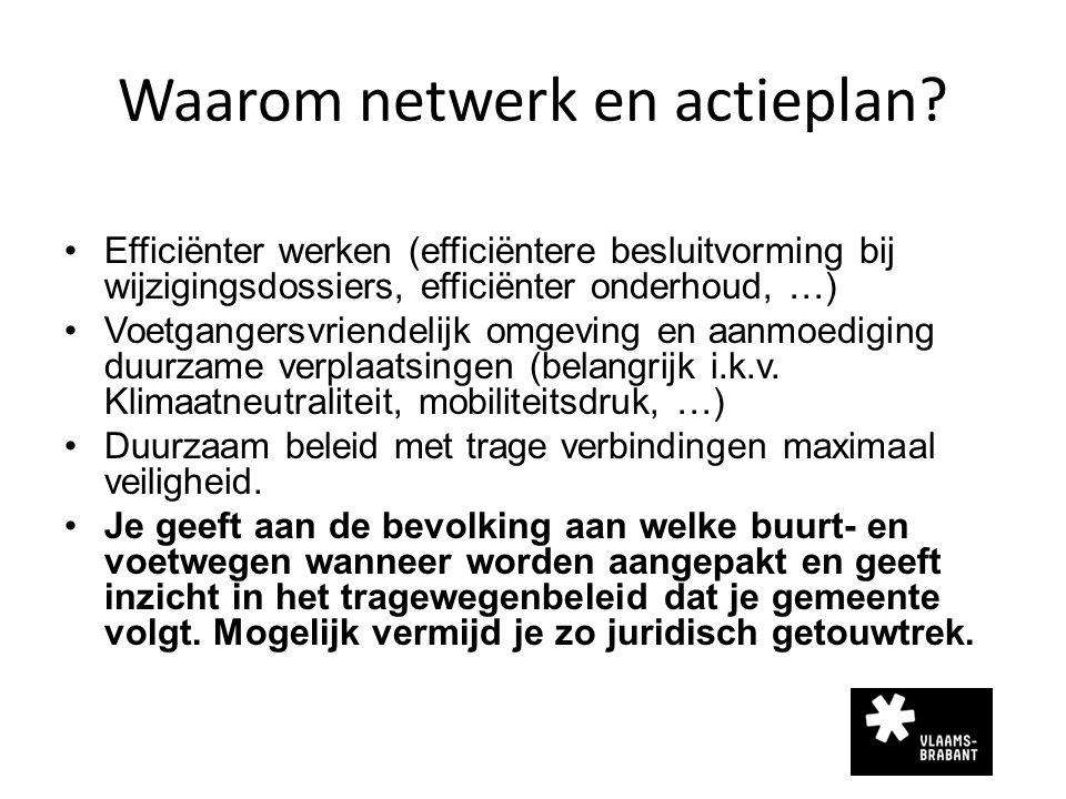 Waarom netwerk en actieplan? Efficiënter werken (efficiëntere besluitvorming bij wijzigingsdossiers, efficiënter onderhoud, …) Voetgangersvriendelijk