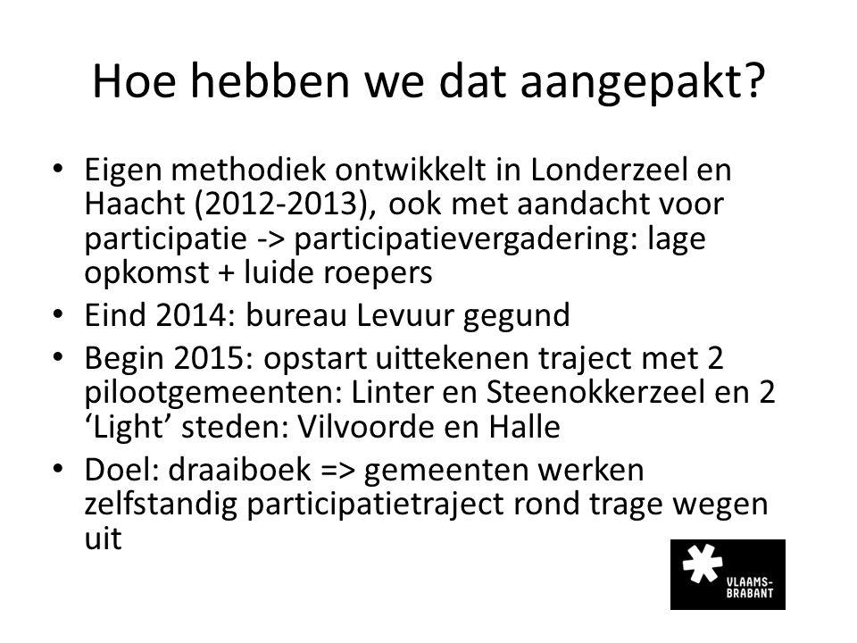 Hoe hebben we dat aangepakt? Eigen methodiek ontwikkelt in Londerzeel en Haacht (2012-2013), ook met aandacht voor participatie -> participatievergade