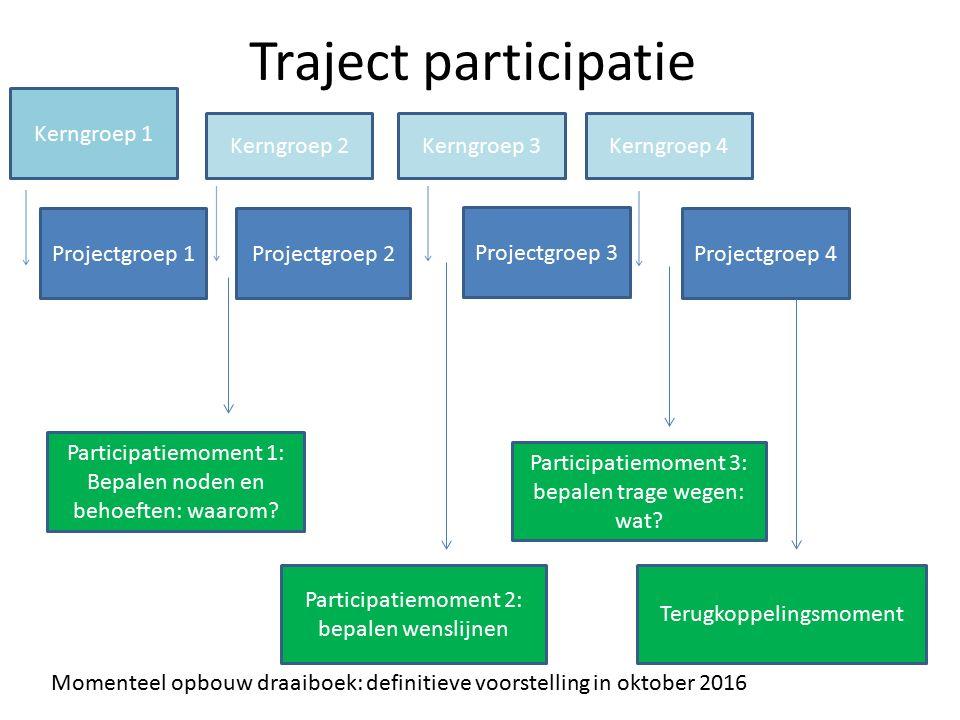 Traject participatie Projectgroep 1Projectgroep 2 Projectgroep 3 Projectgroep 4 Participatiemoment 1: Bepalen noden en behoeften: waarom? Participatie
