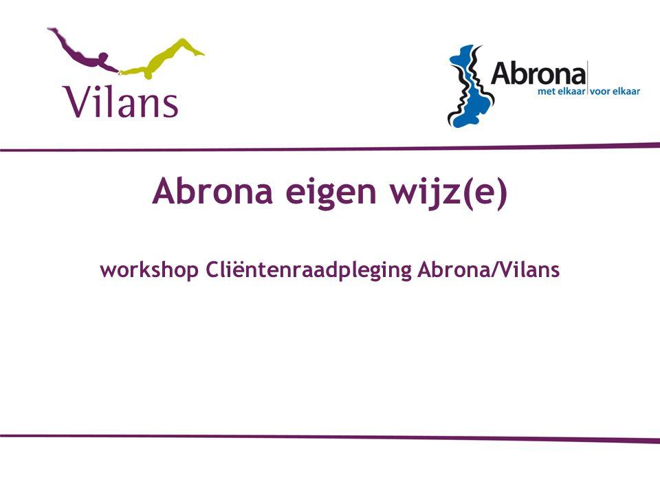 Abrona eigen wijz(e) workshop Cliëntenraadpleging Abrona/Vilans