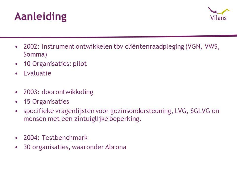 Aanleiding 2002: Instrument ontwikkelen tbv cliëntenraadpleging (VGN, VWS, Somma) 10 Organisaties: pilot Evaluatie 2003: doorontwikkeling 15 Organisaties specifieke vragenlijsten voor gezinsondersteuning, LVG, SGLVG en mensen met een zintuiglijke beperking.