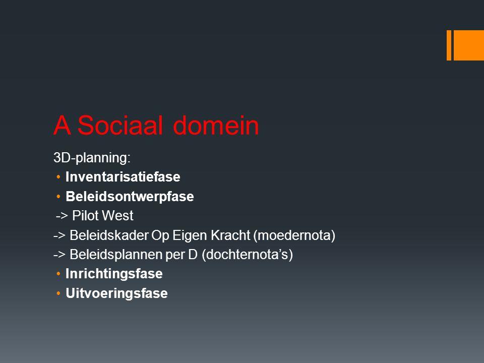 A Sociaal domein 3D-planning: Inventarisatiefase Beleidsontwerpfase -> Pilot West -> Beleidskader Op Eigen Kracht (moedernota) -> Beleidsplannen per D (dochternota's) Inrichtingsfase Uitvoeringsfase