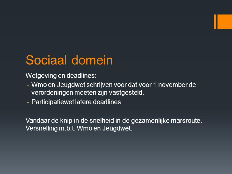 Sociaal domein Wetgeving en deadlines: -Wmo en Jeugdwet schrijven voor dat voor 1 november de verordeningen moeten zijn vastgesteld. -Participatiewet