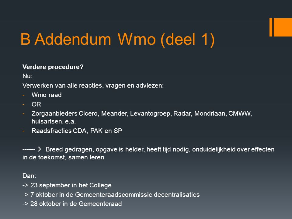 B Addendum Wmo (deel 1) Verdere procedure.