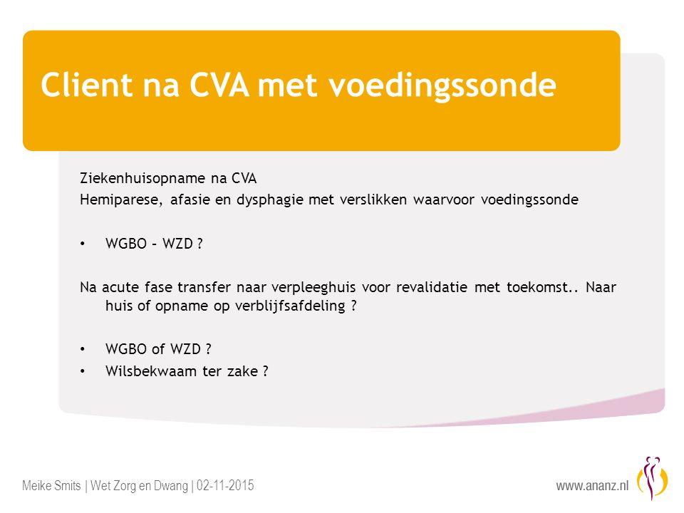 Meike Smits | Wet Zorg en Dwang | 02-11-2015 Client na CVA met voedingssonde Ziekenhuisopname na CVA Hemiparese, afasie en dysphagie met verslikken waarvoor voedingssonde WGBO – WZD .