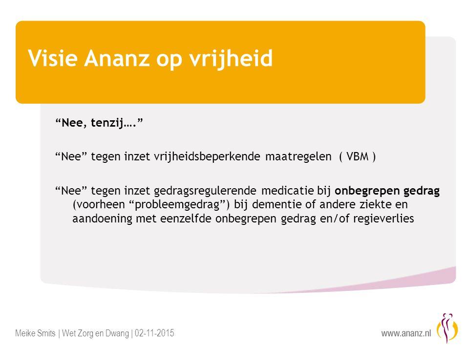 Meike Smits | Wet Zorg en Dwang | 02-11-2015 Visie Ananz op vrijheid Dit betekent..