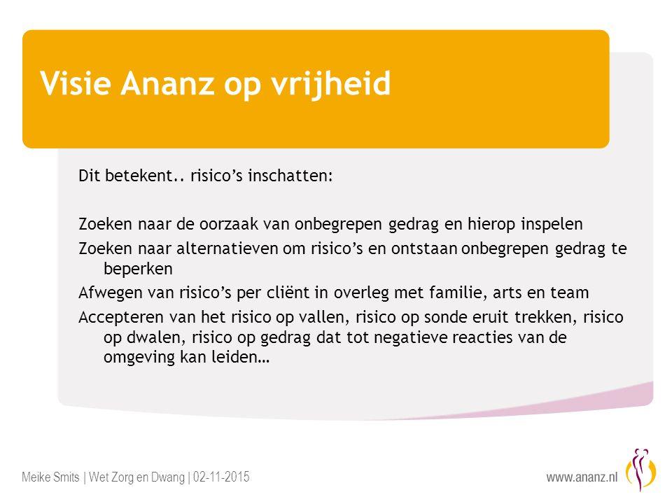 Meike Smits | Wet Zorg en Dwang | 02-11-2015 Visie Ananz op vrijheid Dit betekent.. risico's inschatten: Zoeken naar de oorzaak van onbegrepen gedrag