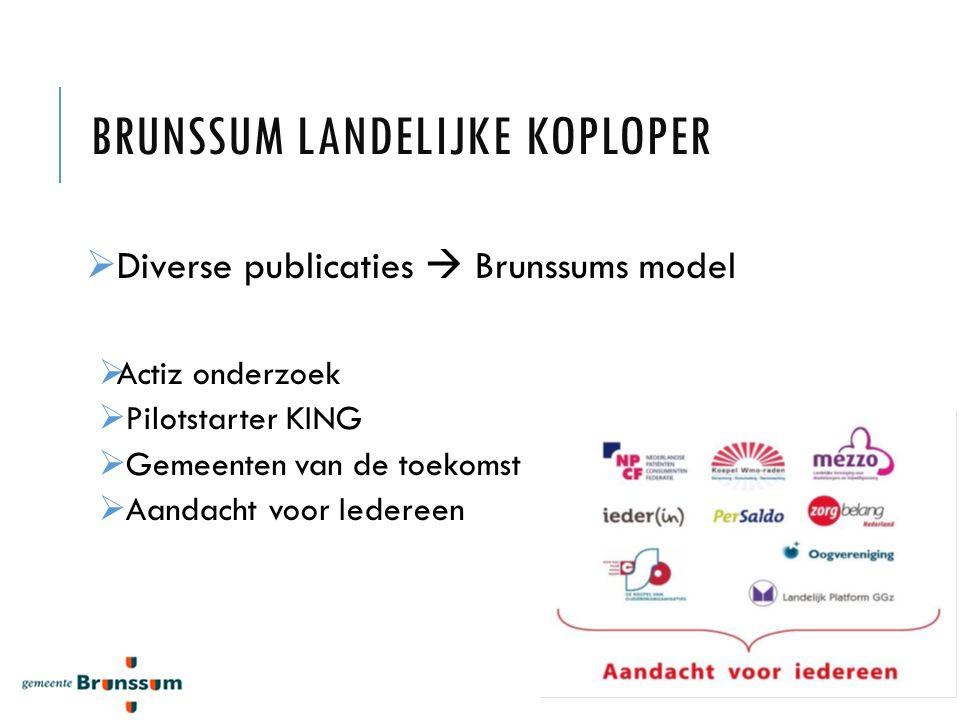 BRUNSSUM LANDELIJKE KOPLOPER  Diverse publicaties  Brunssums model  Actiz onderzoek  Pilotstarter KING  Gemeenten van de toekomst  Aandacht voor Iedereen
