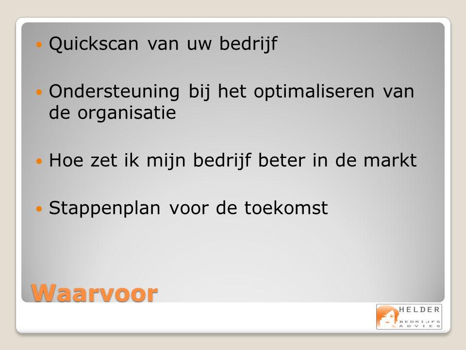 Waarvoor Quickscan van uw bedrijf Ondersteuning bij het optimaliseren van de organisatie Hoe zet ik mijn bedrijf beter in de markt Stappenplan voor de