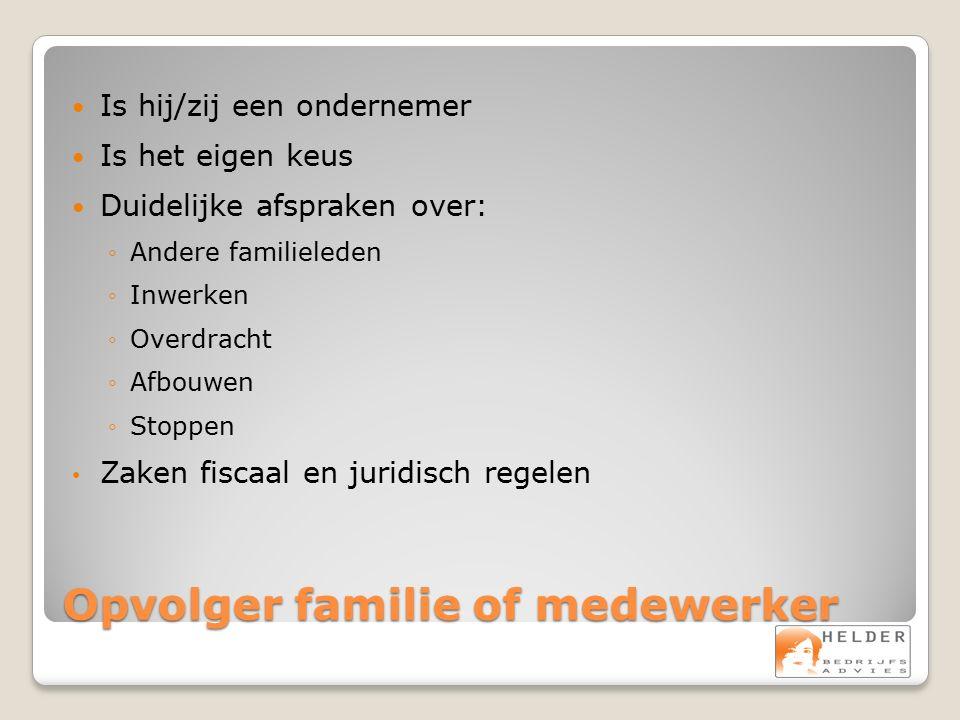 Opvolger familie of medewerker Is hij/zij een ondernemer Is het eigen keus Duidelijke afspraken over: ◦Andere familieleden ◦Inwerken ◦Overdracht ◦Afbo