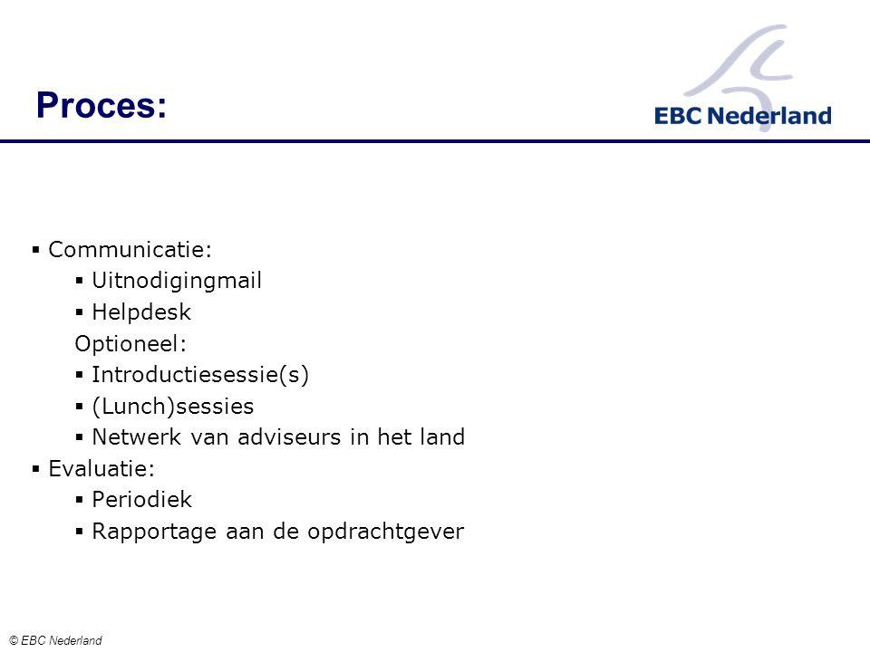  Communicatie:  Uitnodigingmail  Helpdesk Optioneel:  Introductiesessie(s)  (Lunch)sessies  Netwerk van adviseurs in het land  Evaluatie:  Periodiek  Rapportage aan de opdrachtgever Proces: © EBC Nederland
