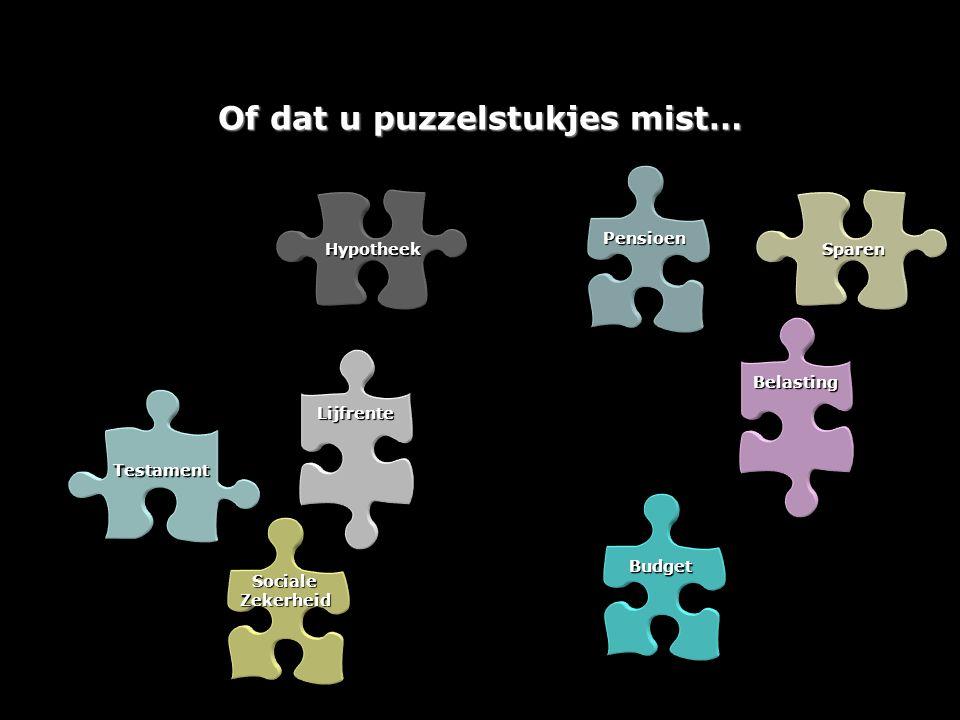 Budget Lijfrente Testament Sociale Zekerheid Hypotheek Pensioen Sparen Belasting Of dat u puzzelstukjes mist…