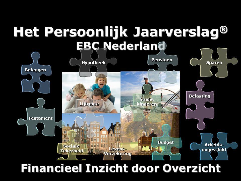 Het Persoonlijk Jaarverslag ® EBC Nederland Studie kinderen Levens- Verzekering Budget Lijfrente Testament Sociale Zekerheid Hypotheek Pensioen Beleggen Sparen Belasting Arbeids- ongeschikt Financieel Inzicht door Overzicht