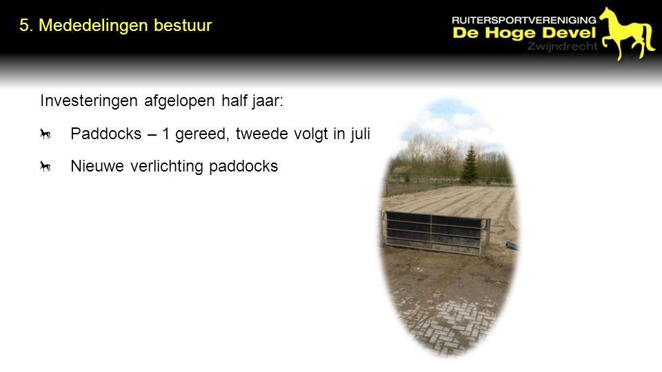Investeringen afgelopen half jaar: Paddocks – 1 gereed, tweede volgt in juli Nieuwe verlichting paddocks 5.