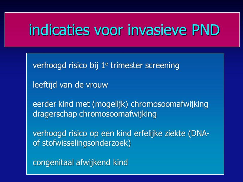 indicaties voor invasieve PND indicaties voor invasieve PND verhoogd risico bij 1 e trimester screening leeftijd van de vrouw eerder kind met (mogelijk) chromosoomafwijking dragerschap chromosoomafwijking verhoogd risico op een kind erfelijke ziekte (DNA- of stofwisselingsonderzoek) congenitaal afwijkend kind