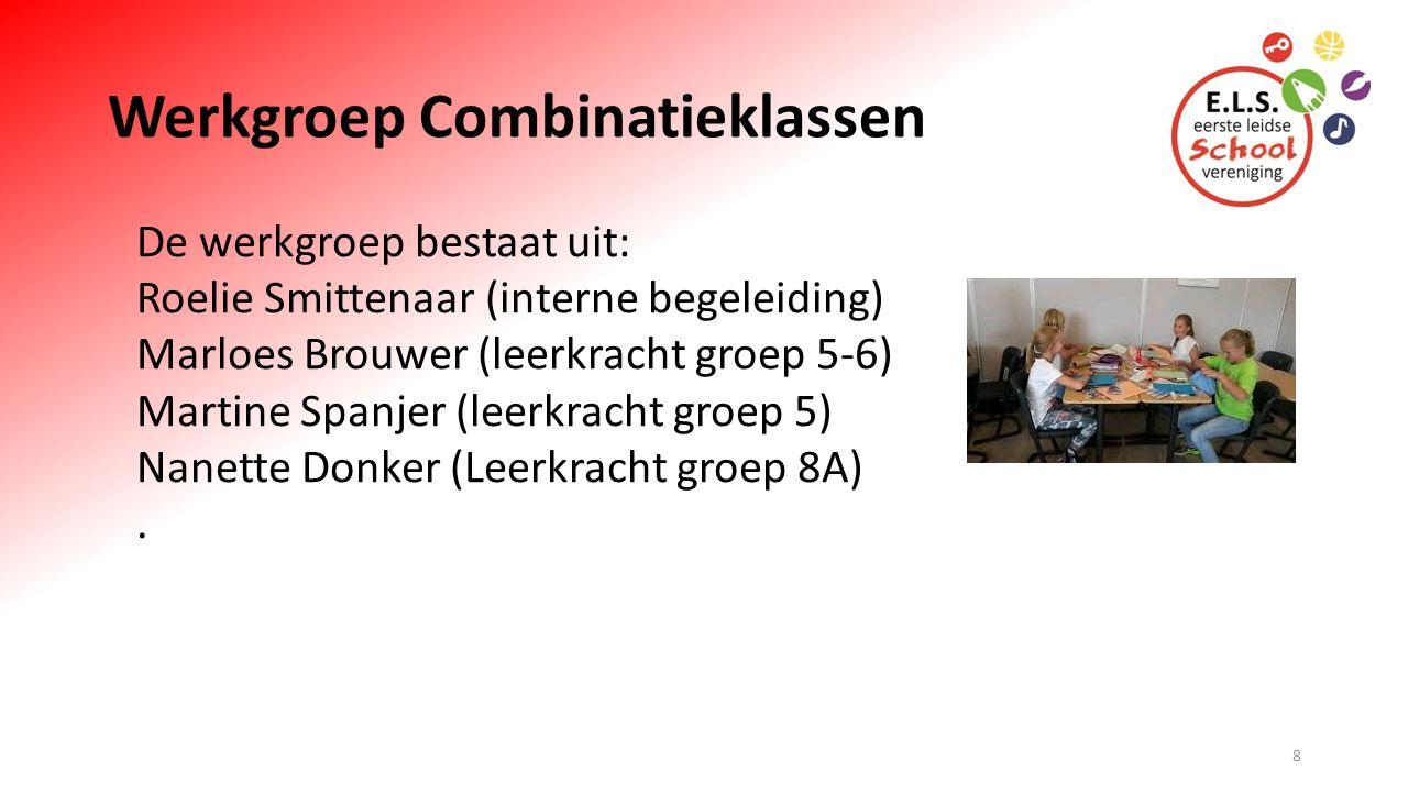 Werkgroep Combinatieklassen De werkgroep bestaat uit: Roelie Smittenaar (interne begeleiding) Marloes Brouwer (leerkracht groep 5-6) Martine Spanjer (