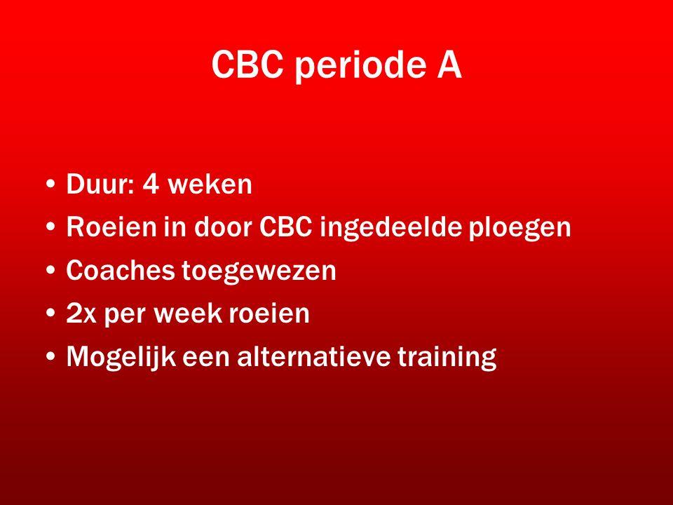 CBC periode A Duur: 4 weken Roeien in door CBC ingedeelde ploegen Coaches toegewezen 2x per week roeien Mogelijk een alternatieve training