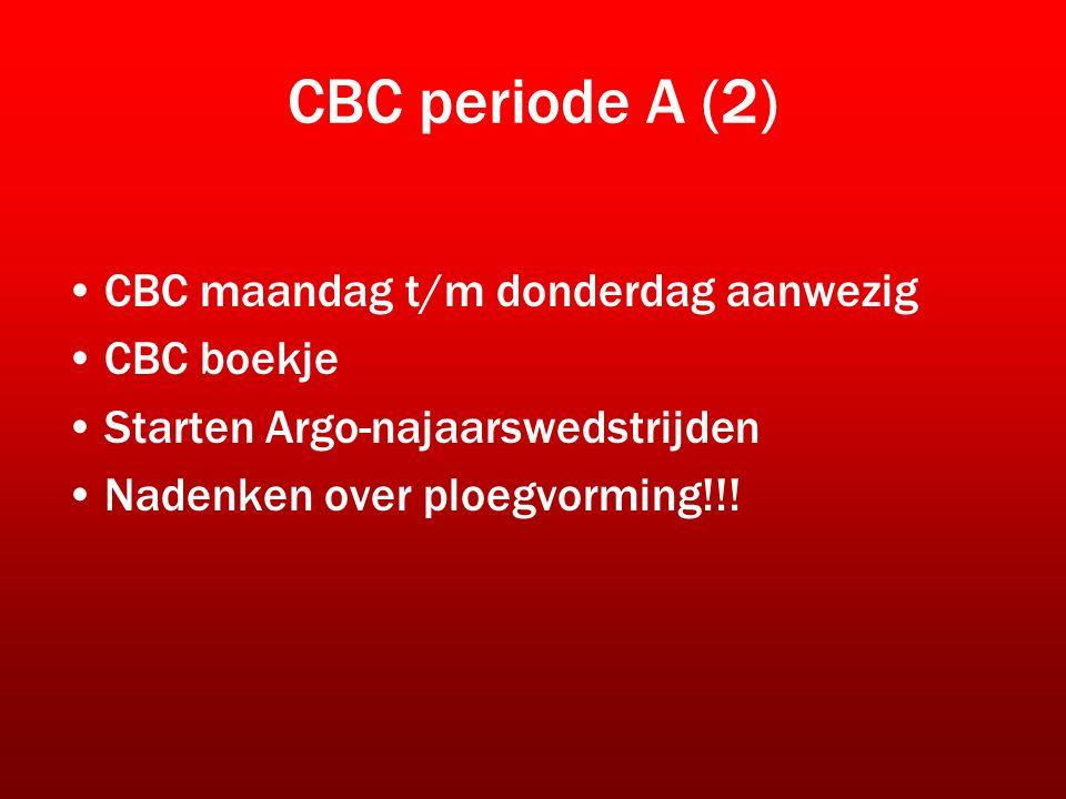CBC periode A (2) CBC maandag t/m donderdag aanwezig CBC boekje Starten Argo-najaarswedstrijden Nadenken over ploegvorming!!!