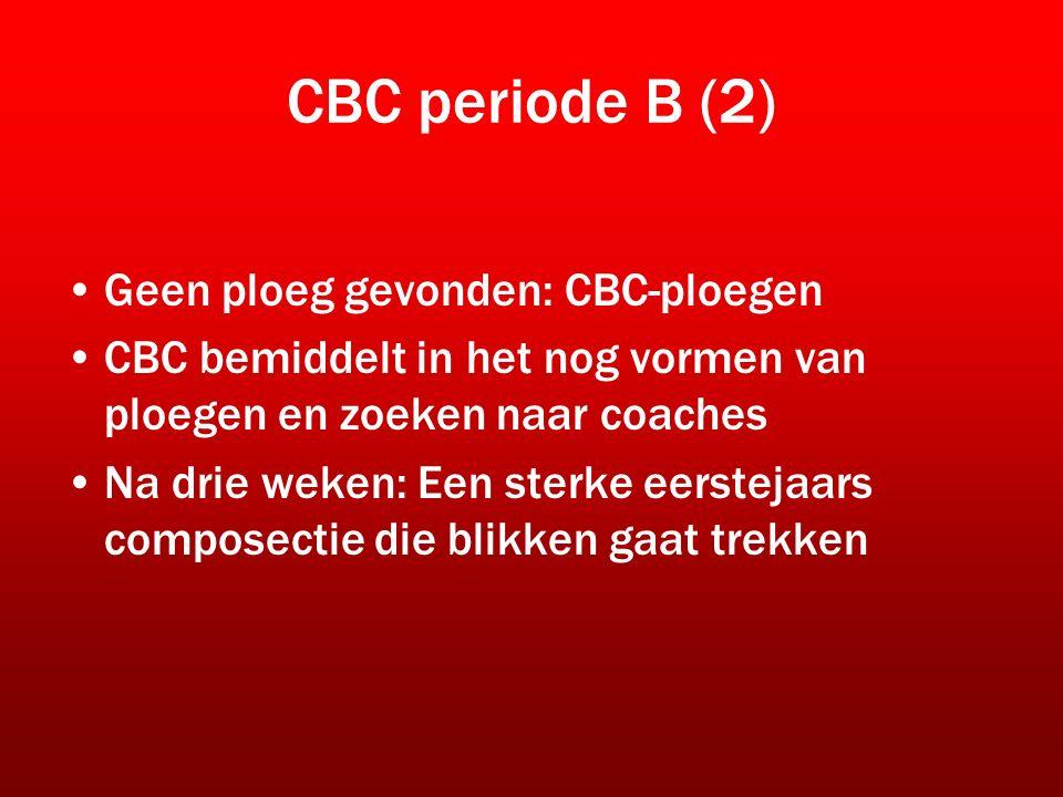 CBC periode B (2) Geen ploeg gevonden: CBC-ploegen CBC bemiddelt in het nog vormen van ploegen en zoeken naar coaches Na drie weken: Een sterke eerstejaars composectie die blikken gaat trekken