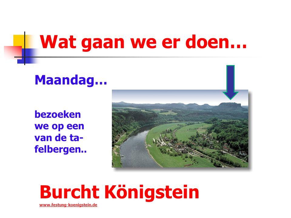 Wat gaan we er doen… Maandag… bezoeken we op een van de ta- felbergen.. Burcht Königstein www.festung-koenigstein.de