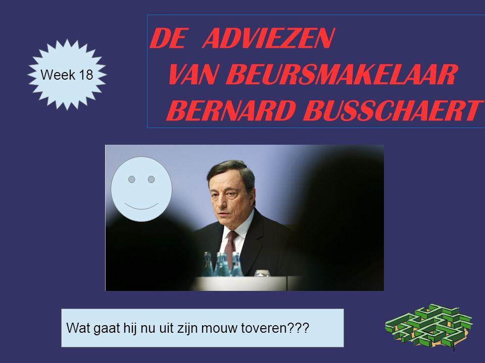 1 DE ADVIEZEN VAN BEURSMAKELAAR BERNARD BUSSCHAERT Week 18 Wat gaat hij nu uit zijn mouw toveren???