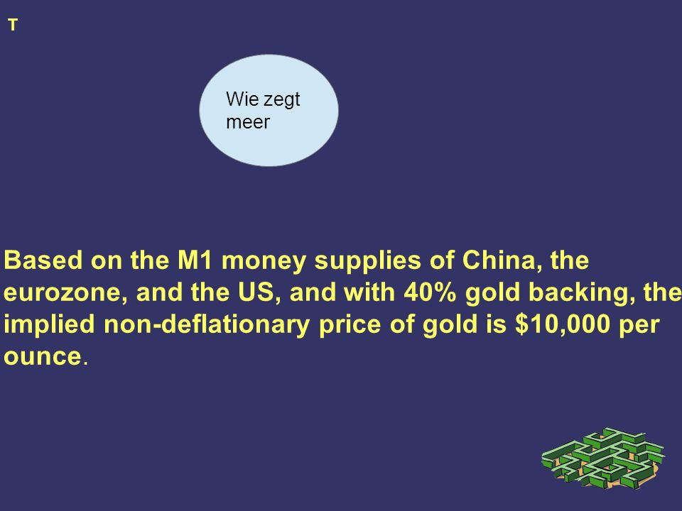 T Based on the M1 money supplies of China, the eurozone, and the US, and with 40% gold backing, the implied non-deflationary price of gold is $10,000