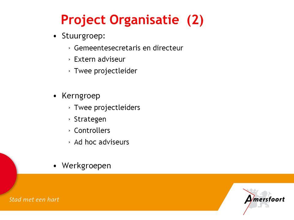 Project Organisatie (2) Stuurgroep: ›Gemeentesecretaris en directeur ›Extern adviseur ›Twee projectleider Kerngroep ›Twee projectleiders ›Strategen ›Controllers ›Ad hoc adviseurs Werkgroepen