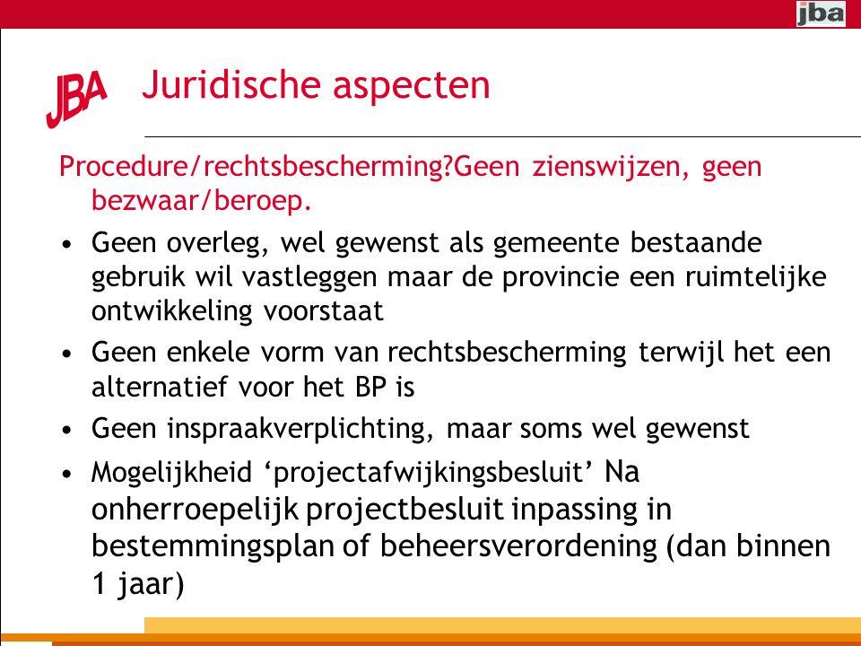 Juridische aspecten Procedure/rechtsbescherming?Geen zienswijzen, geen bezwaar/beroep.