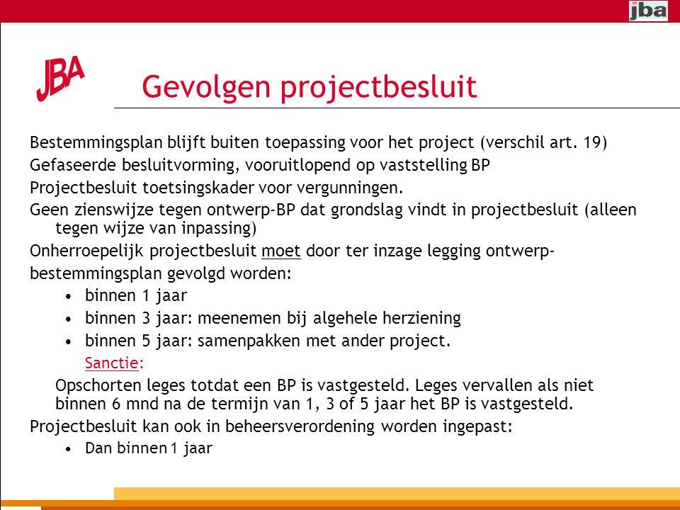 Gevolgen projectbesluit Bestemmingsplan blijft buiten toepassing voor het project (verschil art.