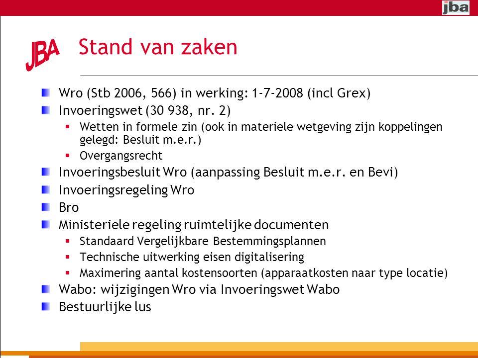 Stand van zaken Wro (Stb 2006, 566) in werking: 1-7-2008 (incl Grex) Invoeringswet (30 938, nr.
