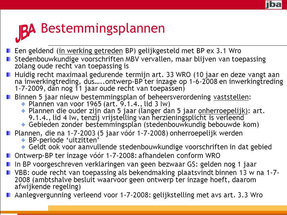 Bestemmingsplannen Een geldend (in werking getreden BP) gelijkgesteld met BP ex 3.1 Wro Stedenbouwkundige voorschriften MBV vervallen, maar blijven van toepassing zolang oude recht van toepassing is Huidig recht maximaal gedurende termijn art.