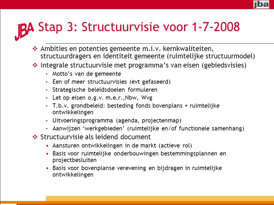 Stap 3: Structuurvisie voor 1-7-2008  Ambities en potenties gemeente m.i.v.