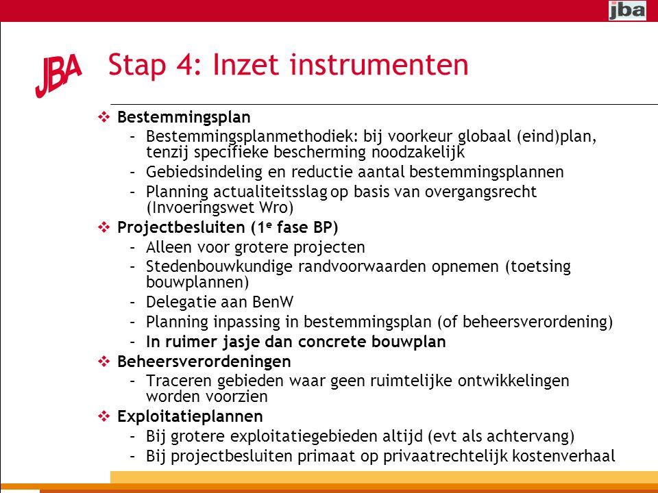 Stap 4: Inzet instrumenten  Bestemmingsplan –Bestemmingsplanmethodiek: bij voorkeur globaal (eind)plan, tenzij specifieke bescherming noodzakelijk –Gebiedsindeling en reductie aantal bestemmingsplannen –Planning actualiteitsslag op basis van overgangsrecht (Invoeringswet Wro)  Projectbesluiten (1 e fase BP) –Alleen voor grotere projecten –Stedenbouwkundige randvoorwaarden opnemen (toetsing bouwplannen) –Delegatie aan BenW –Planning inpassing in bestemmingsplan (of beheersverordening) –In ruimer jasje dan concrete bouwplan  Beheersverordeningen –Traceren gebieden waar geen ruimtelijke ontwikkelingen worden voorzien  Exploitatieplannen –Bij grotere exploitatiegebieden altijd (evt als achtervang) –Bij projectbesluiten primaat op privaatrechtelijk kostenverhaal