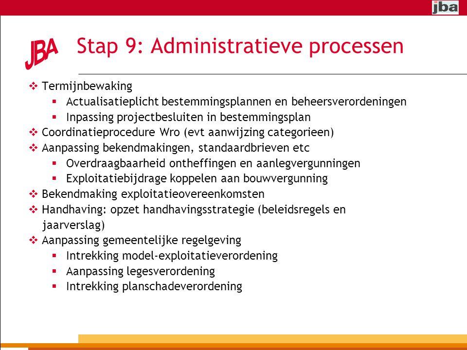 Stap 9: Administratieve processen  Termijnbewaking  Actualisatieplicht bestemmingsplannen en beheersverordeningen  Inpassing projectbesluiten in bestemmingsplan  Coordinatieprocedure Wro (evt aanwijzing categorieen)  Aanpassing bekendmakingen, standaardbrieven etc  Overdraagbaarheid ontheffingen en aanlegvergunningen  Exploitatiebijdrage koppelen aan bouwvergunning  Bekendmaking exploitatieovereenkomsten  Handhaving: opzet handhavingsstrategie (beleidsregels en jaarverslag)  Aanpassing gemeentelijke regelgeving  Intrekking model-exploitatieverordening  Aanpassing legesverordening  Intrekking planschadeverordening