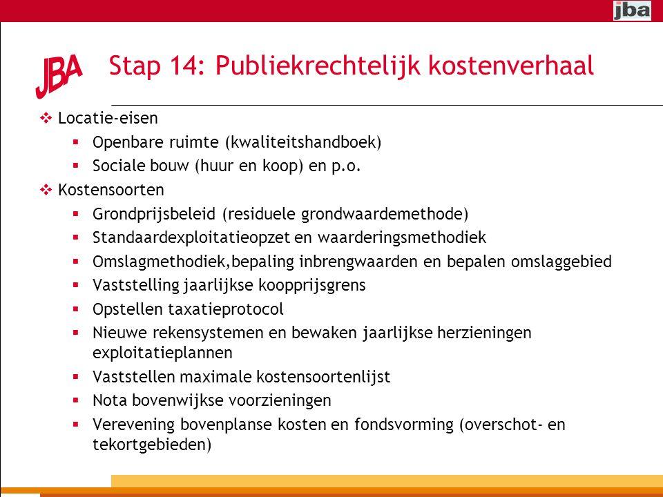 Stap 14: Publiekrechtelijk kostenverhaal  Locatie-eisen  Openbare ruimte (kwaliteitshandboek)  Sociale bouw (huur en koop) en p.o.