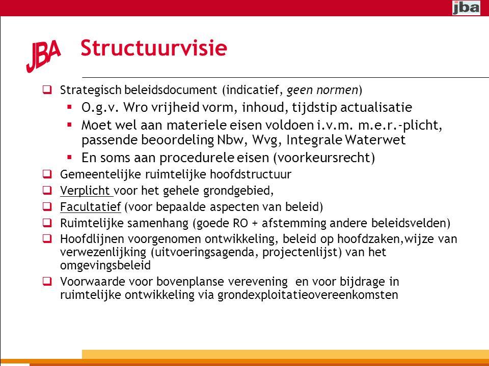 Structuurvisie  Strategisch beleidsdocument (indicatief, geen normen)  O.g.v.