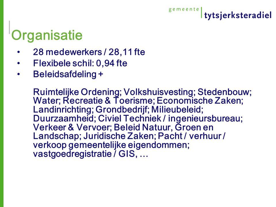 Organisatie 28 medewerkers / 28,11 fte Flexibele schil: 0,94 fte Beleidsafdeling + Ruimtelijke Ordening; Volkshuisvesting; Stedenbouw; Water; Recreatie & Toerisme; Economische Zaken; Landinrichting; Grondbedrijf; Milieubeleid; Duurzaamheid; Civiel Techniek / ingenieursbureau; Verkeer & Vervoer; Beleid Natuur, Groen en Landschap; Juridische Zaken; Pacht / verhuur / verkoop gemeentelijke eigendommen; vastgoedregistratie / GIS, …