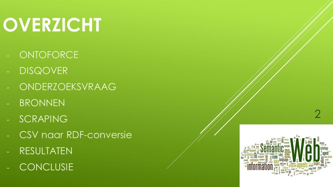 ONTOFORCE Situering bedrijfs(contact): - Vergevorderde start-up - Gent(/Hasselt) - Innovatief binnen bio-informatica sector - DISQOVER - Linken van biologische data - Bedrijfscontact: back-end 3