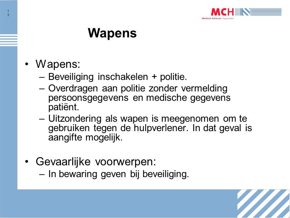 13 Wapens Wapens: –Beveiliging inschakelen + politie.