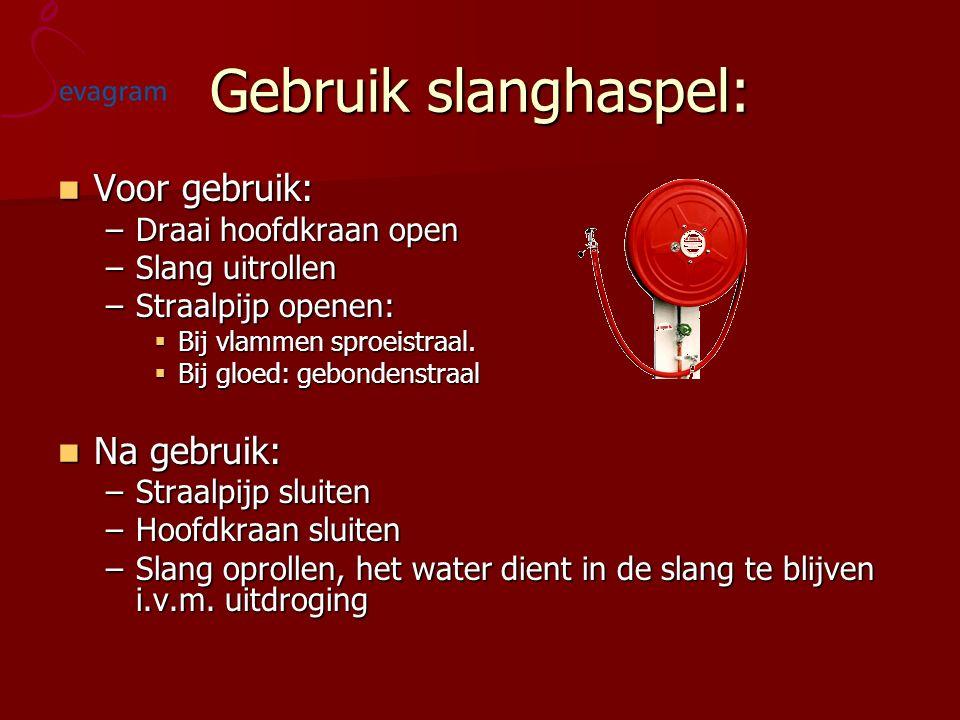 Gebruik slanghaspel: Voor gebruik: Voor gebruik: –Draai hoofdkraan open –Slang uitrollen –Straalpijp openen:  Bij vlammen sproeistraal.  Bij gloed: