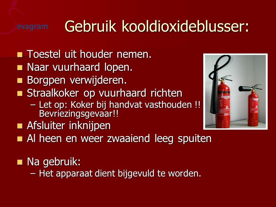 Gebruik kooldioxideblusser: Gebruik kooldioxideblusser: Toestel uit houder nemen. Toestel uit houder nemen. Naar vuurhaard lopen. Naar vuurhaard lopen