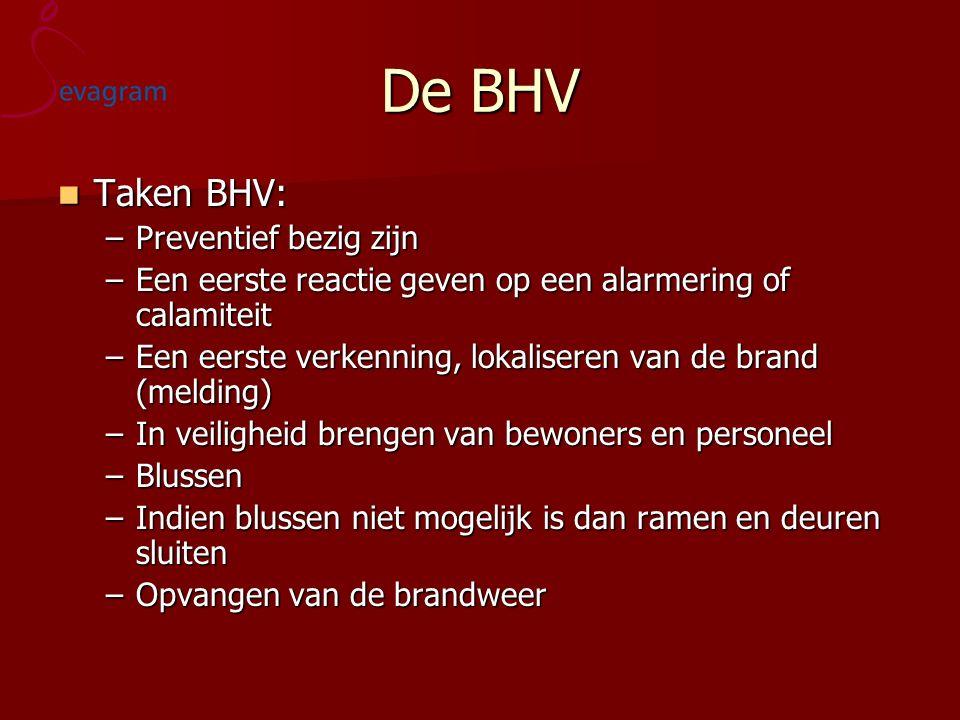 De BHV Taken BHV: Taken BHV: –Preventief bezig zijn –Een eerste reactie geven op een alarmering of calamiteit –Een eerste verkenning, lokaliseren van