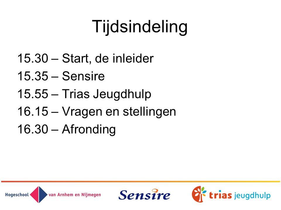 Tijdsindeling 15.30 – Start, de inleider 15.35 – Sensire 15.55 – Trias Jeugdhulp 16.15 – Vragen en stellingen 16.30 – Afronding