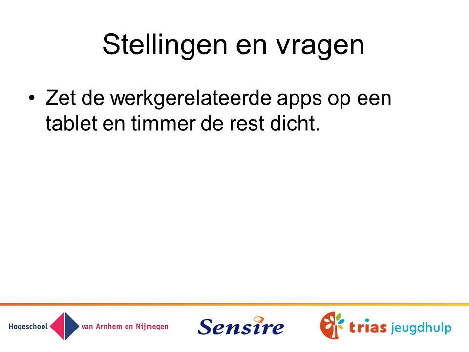 Stellingen en vragen Zet de werkgerelateerde apps op een tablet en timmer de rest dicht.