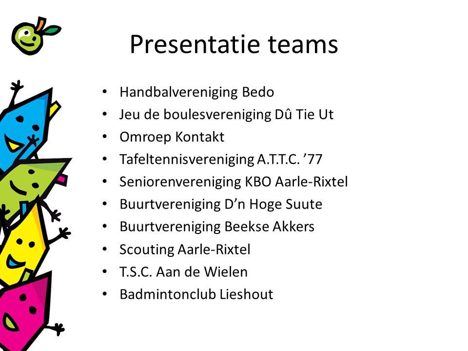 Presentatie teams Handbalvereniging Bedo Jeu de boulesvereniging Dû Tie Ut Omroep Kontakt Tafeltennisvereniging A.T.T.C.