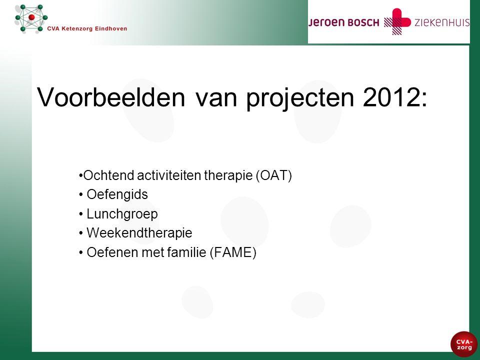 Voorbeelden van projecten 2012: Ochtend activiteiten therapie (OAT) Oefengids Lunchgroep Weekendtherapie Oefenen met familie (FAME)