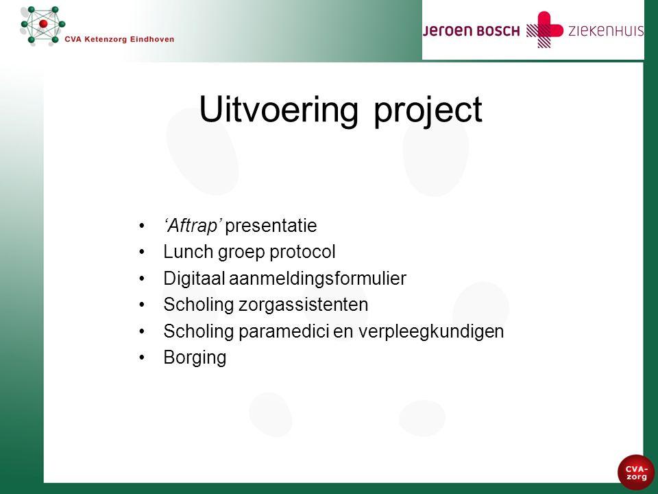 Uitvoering project 'Aftrap' presentatie Lunch groep protocol Digitaal aanmeldingsformulier Scholing zorgassistenten Scholing paramedici en verpleegkundigen Borging