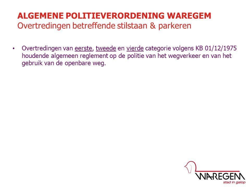Overtredingen van eerste, tweede en vierde categorie volgens KB 01/12/1975 houdende algemeen reglement op de politie van het wegverkeer en van het gebruik van de openbare weg.