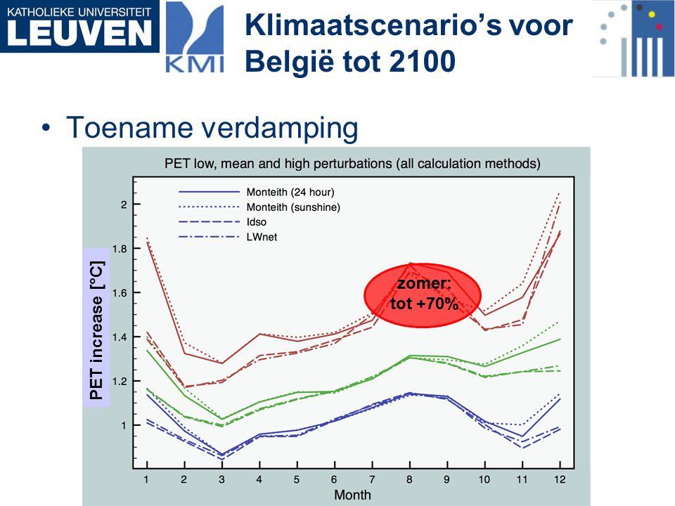 Toename verdamping Klimaatscenario's voor België tot 2100 zomer: tot +70% PET increase [°C]