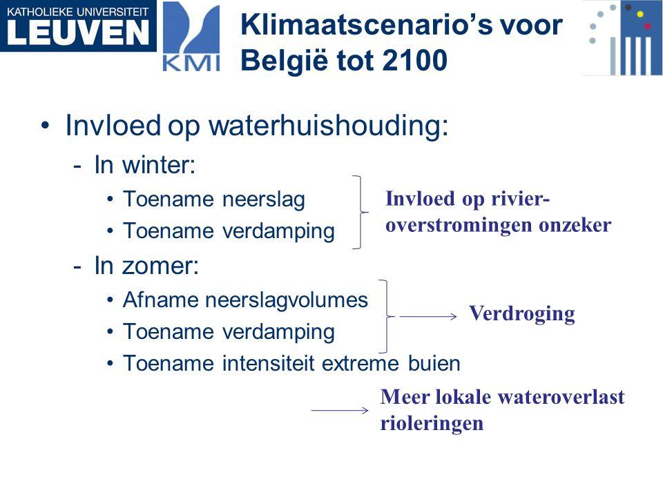 Invloed op waterhuishouding: -In winter: Toename neerslag Toename verdamping -In zomer: Afname neerslagvolumes Toename verdamping Toename intensiteit extreme buien Klimaatscenario's voor België tot 2100 Invloed op rivier- overstromingen onzeker Verdroging Meer lokale wateroverlast rioleringen